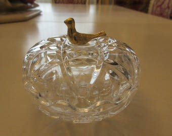 CRYSTAL TRINKET BOX with Gold Bird