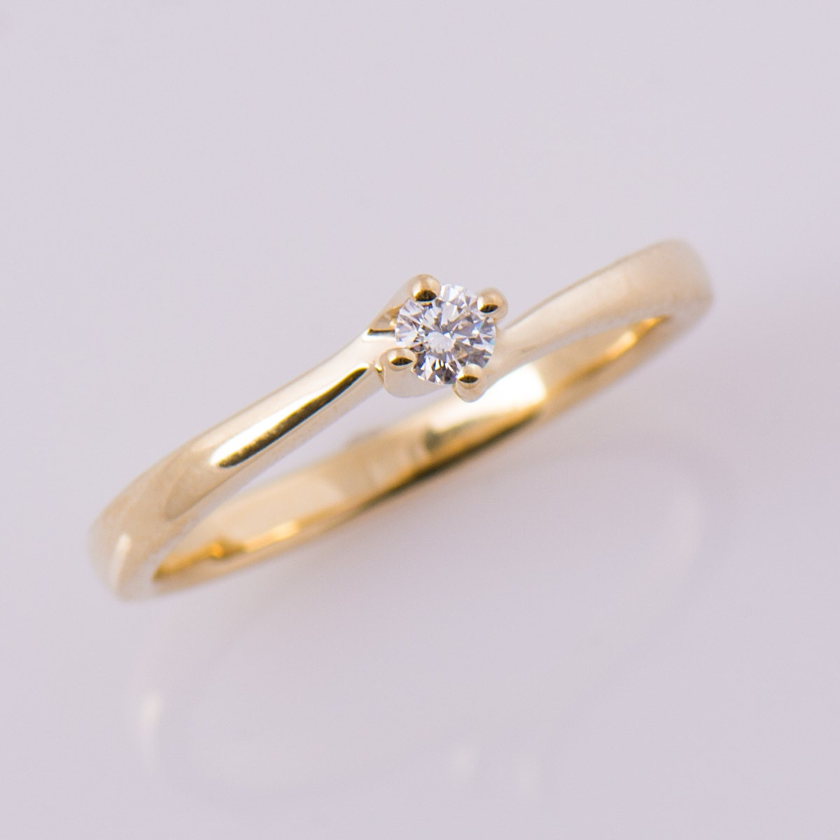 Dainty Diamond Ring Twisted Engagement Ring Solitaire Ring