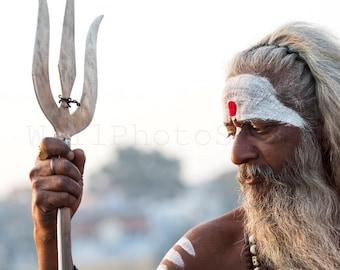 India Photography, Indian Sadhu Holy Man, Varanasi, Hindu Holy Man, Guru, Indian Wall Art, Indian Photo, India Prints, India Fine Art Print