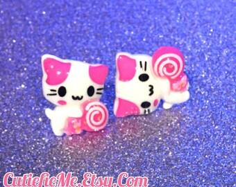 Pink Lollipop Kitty Stud Earrings