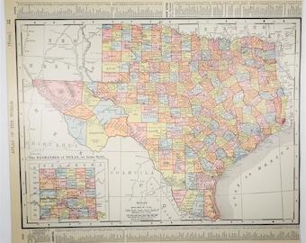 1909 Antique Texas Map