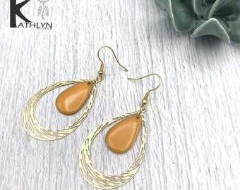 Drops earrings mustard yellow and gold