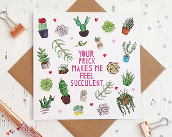 Naughty Cactus Valentines Card- Rude Naughty Valentines Card - Gay Valentine Card - Valentines Card for Boyfriend - Card for Husband