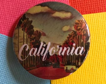 California Travel Pinback Button, California Pin, California Keychain, California Magnet, West Coast, San Francisco, Los Angeles Pins