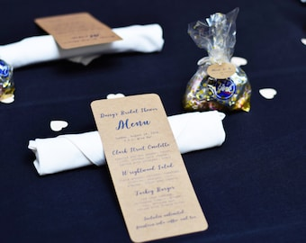 Simple calligraphy Rustic Kraft Event Menus (Wedding / Rehearsal Dinner/ Reception Menu / Bridal Shower)