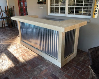 The Indoor Thomas - 3' x 8' X 3' two level Rustic Corrugated Metal and Pine wood bar