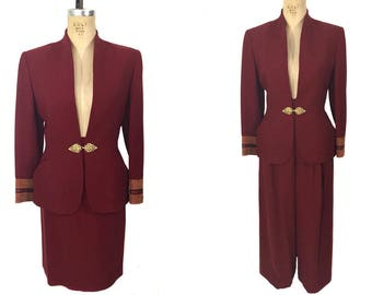 vintage 1990's LOLITA LEMPICKA suit / wool / red / jacket skirt pants / three piece suit / 90's style / women's vintage suit / tag size 38