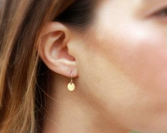 Dainty Disc Earrings, Everyday Earrings, Delicate Gold Dangles, Drop Earrings, Minimal Earrings, 14k Gold Fill, Sterling Silver, Rose Gold