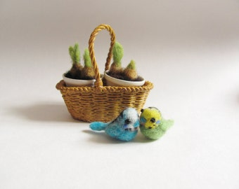 Turquoise budgie needle felted miniature