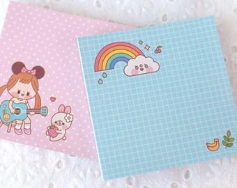 Rainbow & girl Notepad / Memo pad / 100sheets