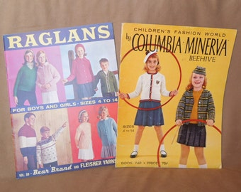 Vintage 50's 60's Knit Pattern Books, Set of Two, Knit Patterns for Children, Mid century
