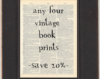 SAVE OVER 20% - Any Four Antique Book Prints - Vintage Dictionary Art Prints Discount - Whimsical Fairy Tale Vintage Illustration