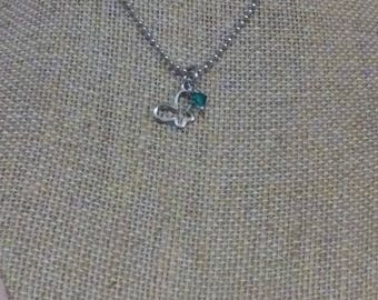 Stainless steel butterfly necklace with birthstone