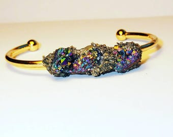 Rainbow druzy and crushed pyrite cuff bangle bracelet