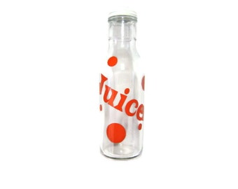"""DESTASH Glass Bottle with Orange VInyl Dots and """"Juicer"""", Vinyl Decal, Glass Water Bottle, Juice Bottle, Yoga Bottle, Work Out Bottle"""