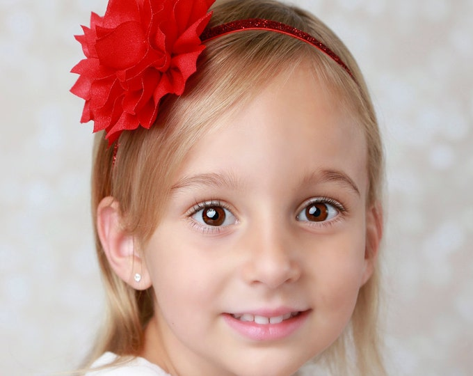 Christmas Red Poinsettia Flower 3 inch on Red Glitter Elastic Headband, perfect for all ages or on an alligator clip