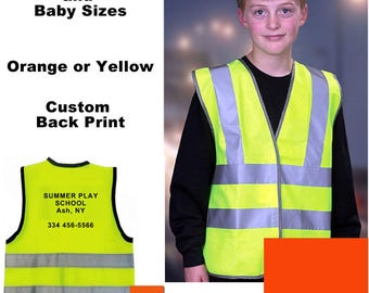 Custom Printed Child & Infant Reflective Construction Safety Vest Yellow Orange HiVis Logo Sport Group School Baby Toddler 0-6 mo - 9-11 yrs