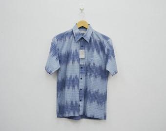 LYLE & SCOTT Shirt Vintage 90s Lyle And Scott Collection Wave Designs Button Down Short Sleeve Shirt Men's Size S