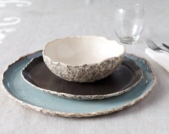 Geschirr Hochzeitstisch, handgemachte Bio Geschirr Einstellung, große Keramik Menüset, Steinzeug Abendessen Einstellung, Hochzeit Geburtstag Geschenk