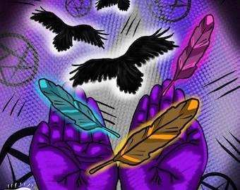 4x6 glossy digital art prints limited original designs popart weird art emo Open Wings purple hands ravens feathers