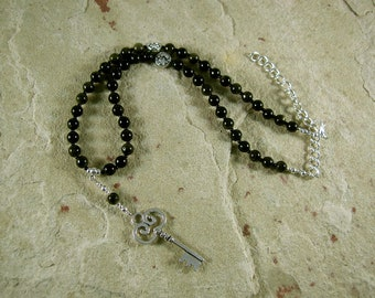 Hekate (Hecate) Prayer Bead Necklace in Golden Obsidian (Adjustable): Greek Goddess of Magic, Witchcraft, Crossroads, Thresholds