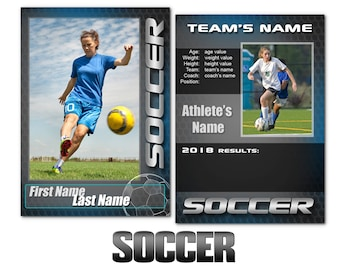 """Soccer """"Graphite"""" Cards Templates"""