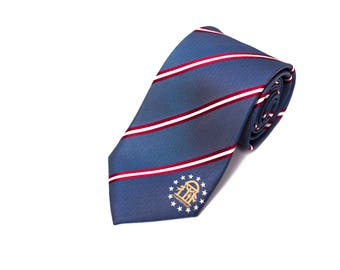 Georgia Tie - Inspired by the Georgia Flag with Personalized Tag. LDS Missionary. Husband Gift, Missionary Gift.