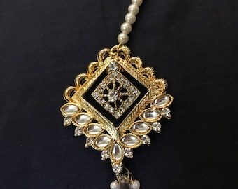 White Mang Tika, Maang Tikka, Matha patti, Indian Wedding Jewelry, Indian Head piece, abaya jewelry, hijab jewelry, Rajasthani Jewe