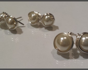 Pearl Earrings, Wire Wrapped Earrings, Pearl Stud Earrings, Bridesmaid's Earrings, Gifts for Her, Bridal Gift, Gifts under 10