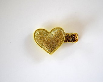 Gold Glitter Puffy HEART Soft Clip Beautiful Little Bow for Newborn Baby Child Little Girl Adult Photo Prop Adorable Valentines Day Bow Clip
