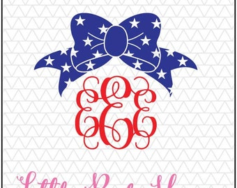 Star Bow SVG, Bow svg, Bow Monogram SVG, 4th of July Bow, Girly svg, Bow Monogram Svg, Bow Svg, Fourth of July SVG,  4th of July Monogram