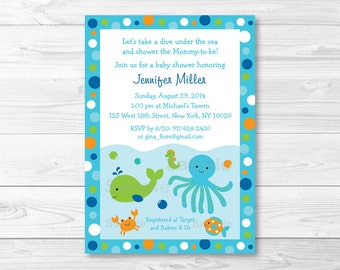 Blue Under the Sea Baby Shower Invitation / Under The Sea Shower / Nautical Baby Shower / Whale Baby Shower / PRINTABLE A229