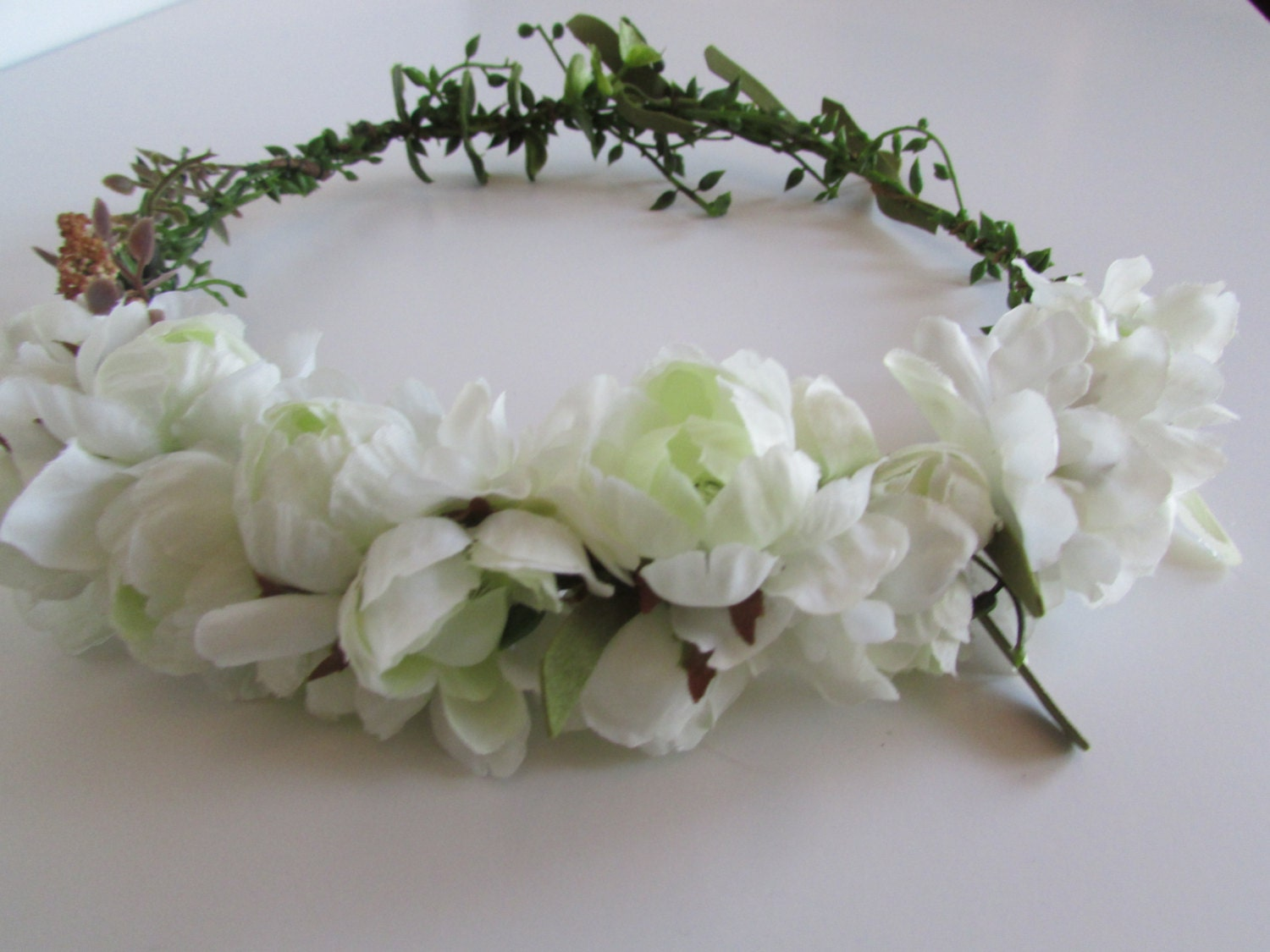 Natural Wedding Flower Crown White And Green Ranunculous