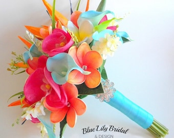Tropical Garden Real Touch Beach Wedding Bridal Bouquet in Turquoise, Fuchsia and Orange with Plumeria, Orchids, Calla Lilies,- Style #110