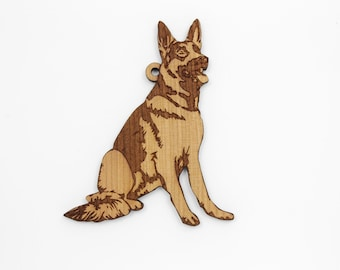 German Shepherd Ornament from Timber Green Woods. Personalize it! Made in the U.S.A! - Nice Gift Idea - Cherry Wood