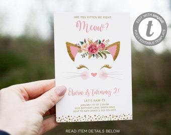 Kitten Birthday Invitation, Invites, Digital, Cat, Pink Gold, Glitter, 2nd, 3rd, Kitty Invite, Instant Download, Editable with Templett