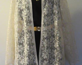 70's Vintage Lace Jacket Cardigan Tunic Cover Up L Boho Floral SPRING SUMMER