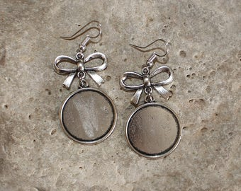 medium round cabochon 20 mm knot Silver earrings