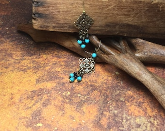 Brass and Turquoise dangle Earrings