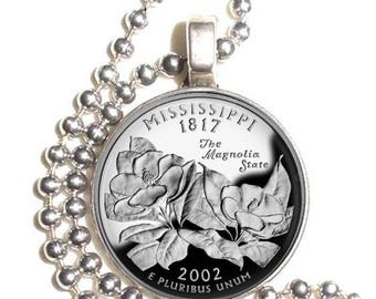 Mississippi Art Pendant, Earrings and/or Keychain, USA Quarter Dollar Image, Round Photo Silver and Resin Charm Jewelry