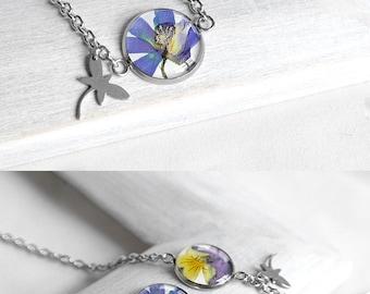 Wedding gift bracelet chain bracelet for bride bracelet for mother daughter gift Blue flower bracelet for sister gifts bracelet for daughter