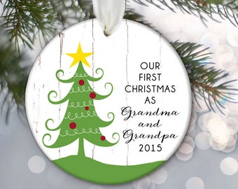 Grandparents Ornament Our first Christmas as Grandma & Grandpa Personalized Christmas Ornament Custom Christmas Tree Ornament OR555
