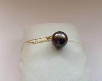 Tahitian Pearl pendant necklace. 9K gold necklace with Tahitian pearl.  Pearl from Tahiti. Gift for her. Black pearl