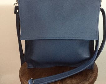 Blue Leather cross Body shoulder bag
