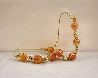 CARNELIAN and 14k ROLLED GOLD Hoop Earrings