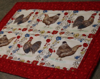 Red Chicken Rooster Floral  22 1/2 X 15 1/2  Table Runner Topper