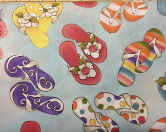 Flip Flops  100% cotton fabric, sold by the yard   #510