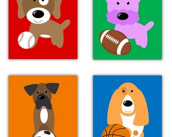"""Dogs Nursery Art // Dogs and Sports Theme // Dogs and Ball Nursery Decor // Puppy Nursery Art // Dog Art Kids // Four 8x10"""" PRINTS ONLY"""