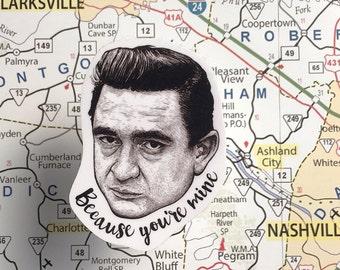 Johnny Cash Vinyl Laptop Sticker | Phone Decal