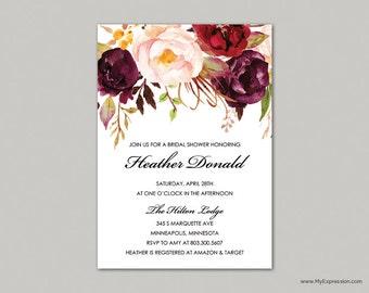 Rustic Floral Bridal Shower Invitation (9059) - Burgundy Roses Bouquet - INSTANT DOWNLOAD Template - Editable PDF